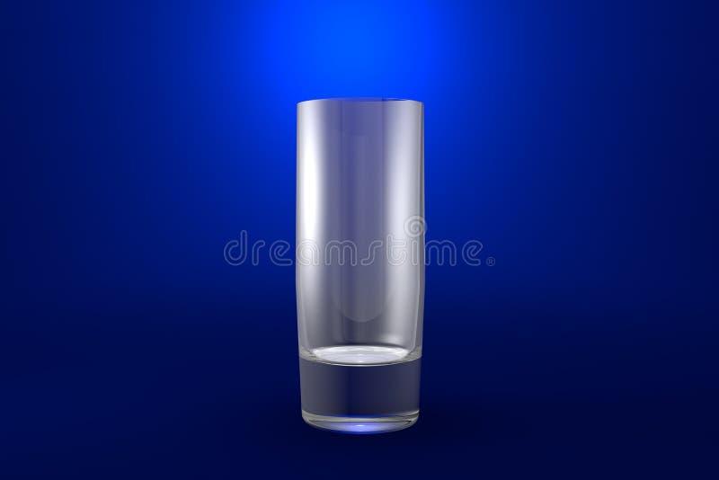 illustrazione 3D di forte vetro di collins dei cocktail su fondo vivo blu - bicchiere rendere illustrazione di stock