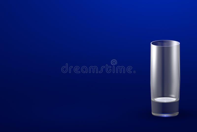 illustrazione 3D di forte vetro di collins dei cocktail sul modello blu- con il posto per il vostro testo - bicchiere rendere illustrazione vettoriale