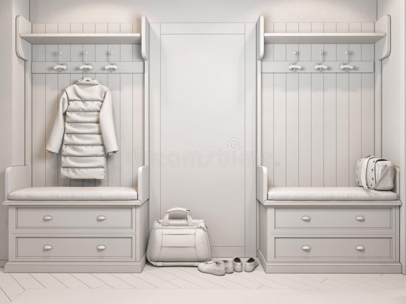illustrazione 3d di piccoli appartamenti senza strutture nel colore bianco illustrazione di stock