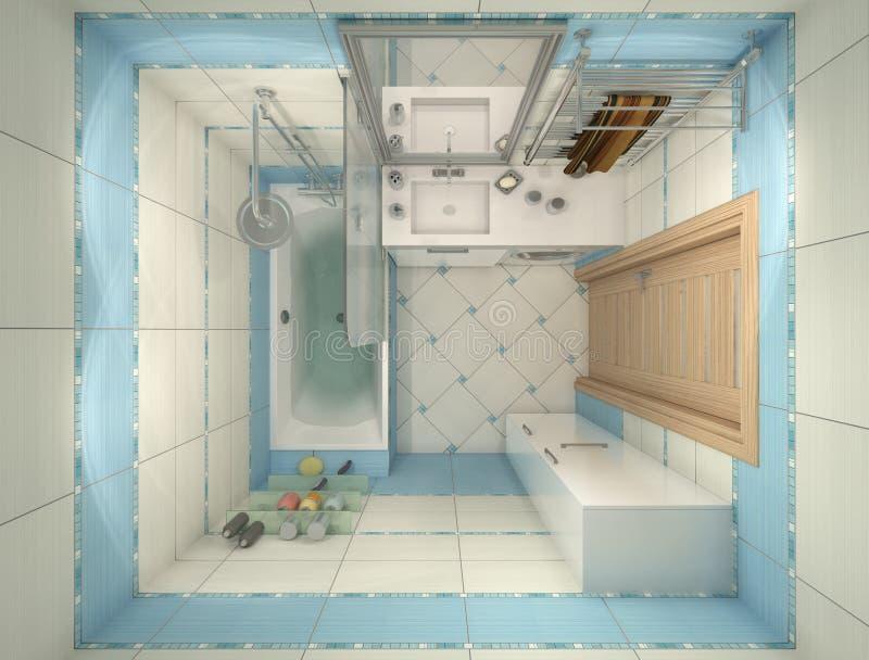 Illustrazione 3d di progettazione di un bagno nel colore blu illustrazione di stock - Bagno di colore ...