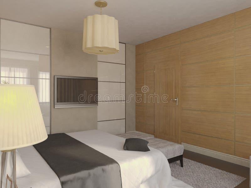 Illustrazione 3d di progettazione di un bagno nel colore marrone e beige illustrazione di stock - Bagno marrone e beige ...