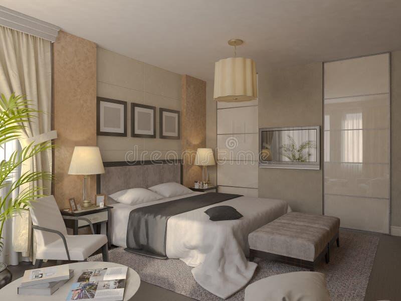 Illustrazione 3d di progettazione di un bagno nel colore - Bagno marrone e beige ...