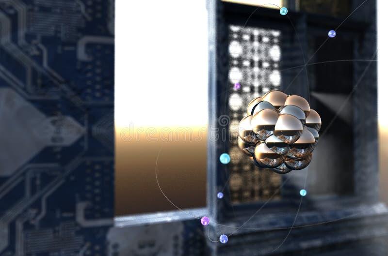 illustrazione 3D di un atomo illustrazione di stock
