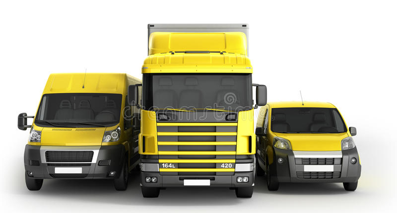 illustrazione 3D di un camion un furgone e un camion contro un BAC bianco illustrazione di stock