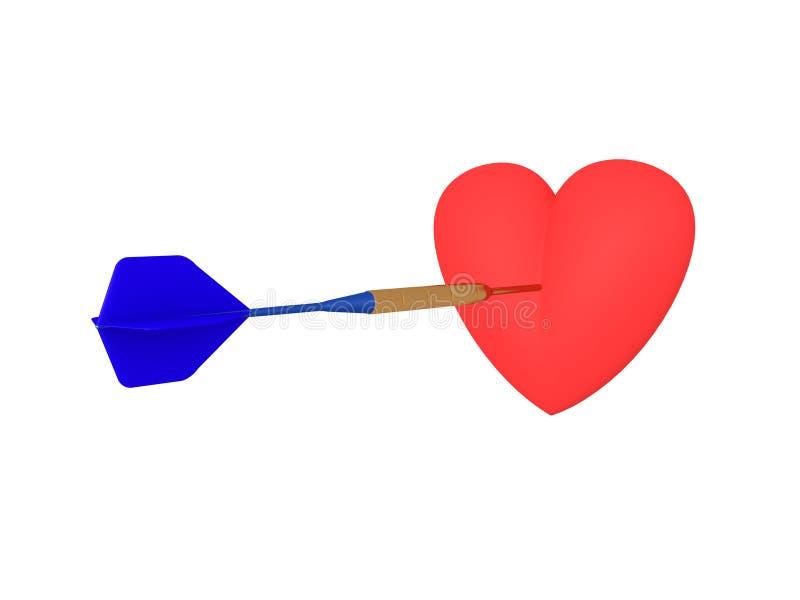 illustrazione 3D di un cuore che è colpito da un dardo royalty illustrazione gratis