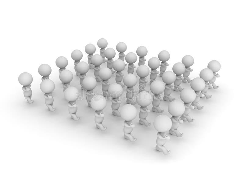 illustrazione 3D di un gruppo di marcia del carattere illustrazione di stock