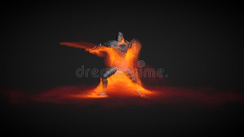 illustrazione 3D di un guerriero che usando attacco magico del fuoco illustrazione di stock