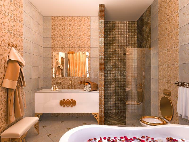 illustrazione 3d di un interior design di un bagno in uno stile classico illustrazione vettoriale