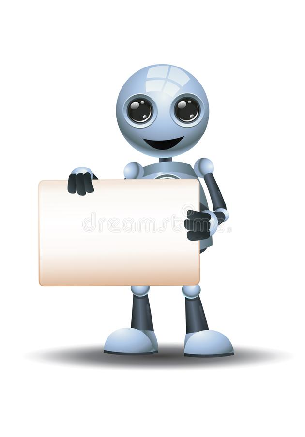 illustrazione in 3d di un piccolo robot che presenta una comunicazione del segnale in bianco mentre sorride illustrazione di stock