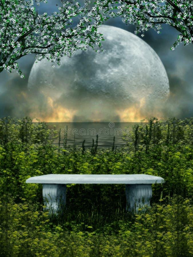 illustrazione 3D di un sedile di pietra isolato con la natura e la luna nei precedenti fotografie stock libere da diritti