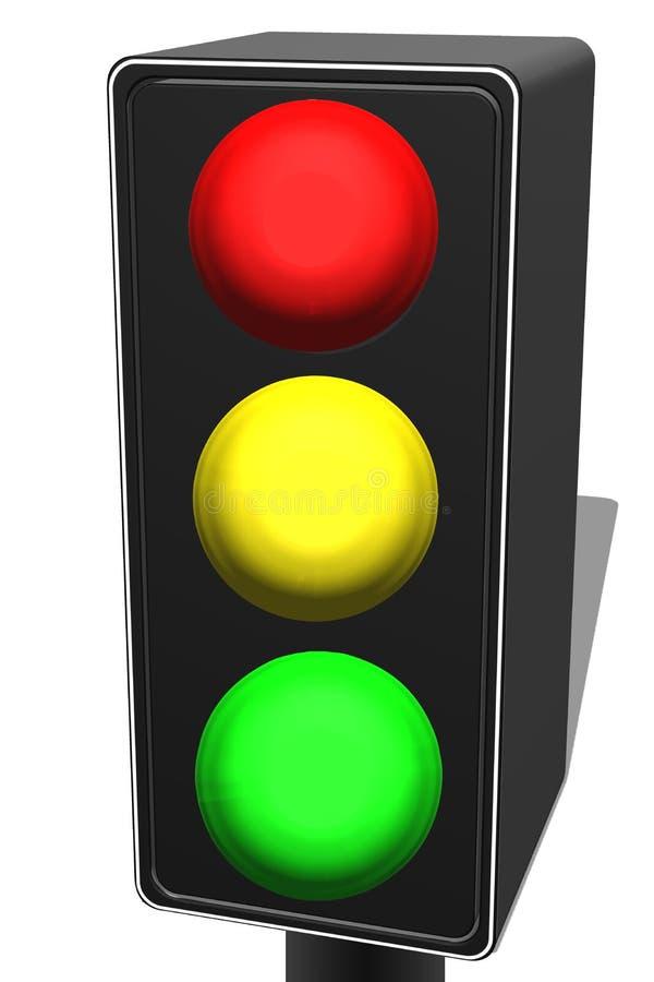 illustrazione 3d di un semaforo con giallo rosso e di una luce verde davanti a fondo bianco illustrazione vettoriale