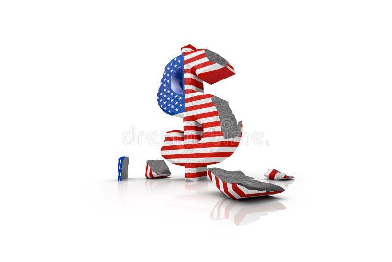 illustrazione 3d di un simbolo di dollaro avariato illustrazione di stock
