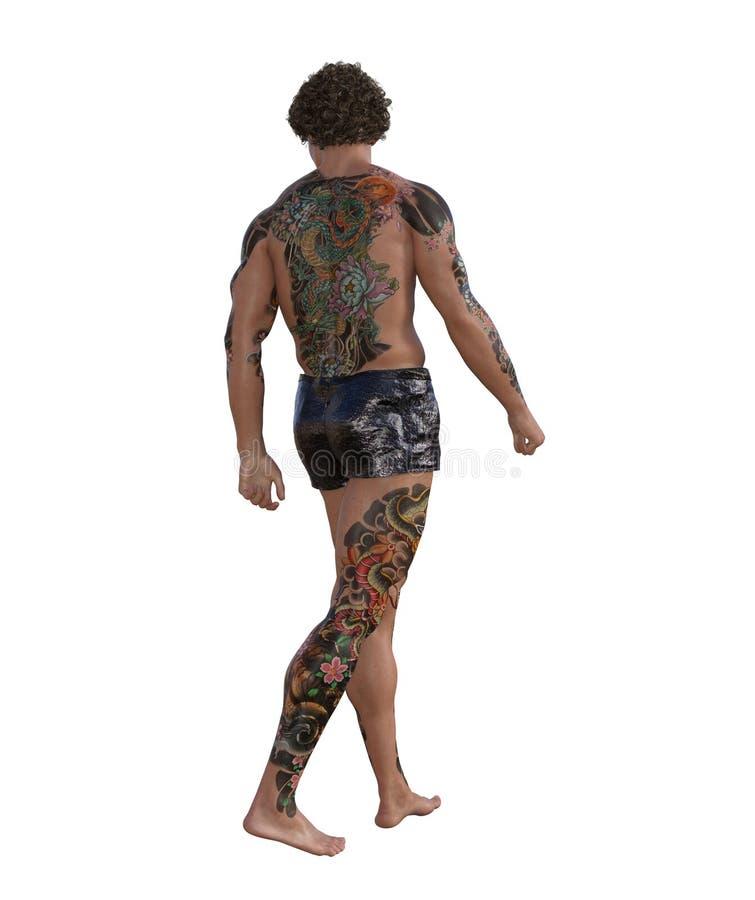 illustrazione 3D di un uomo muscolare tatuato royalty illustrazione gratis