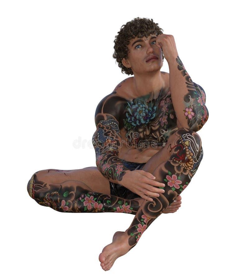 illustrazione 3D di un uomo muscolare tatuato illustrazione di stock