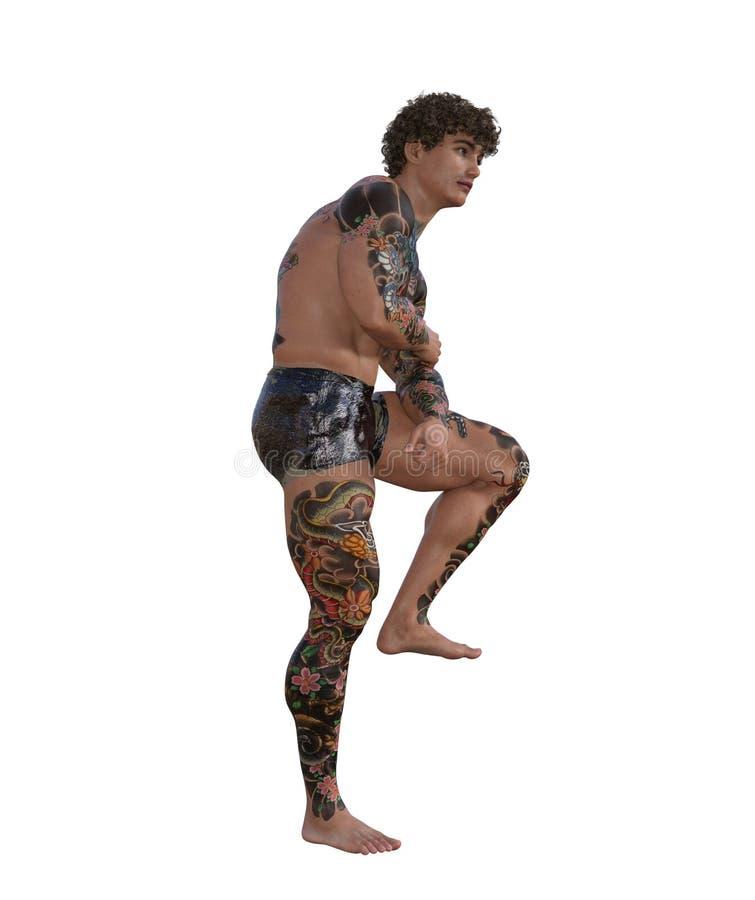 illustrazione 3D di un uomo muscolare tatuato illustrazione vettoriale