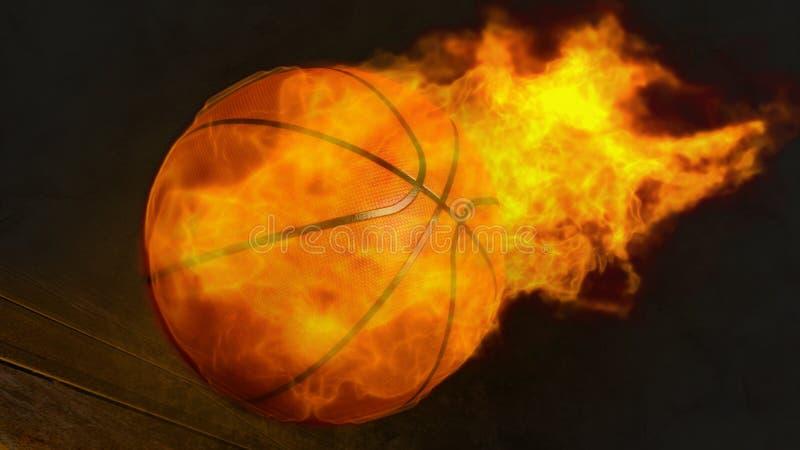 illustrazione 3D di una pallacanestro del fuoco immagini stock libere da diritti