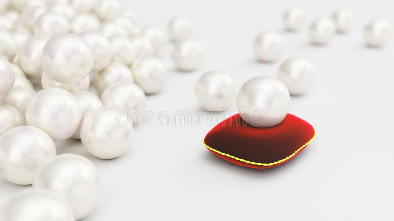 illustrazione 3d di una perla su un cuscino rosso molle del velluto con un colpo dell'oro Bella perla, gioielli costosi per le do illustrazione di stock