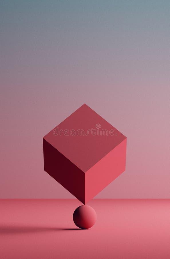 illustrazione 3D Immagine fine del cubo equilibrato sulla palla Cuncept astratto di equilibrio illustrazione vettoriale