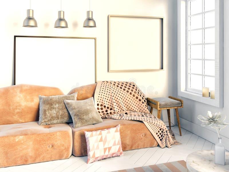illustrazione 3d, interna con il sofà verde del velluto illustrazione vettoriale
