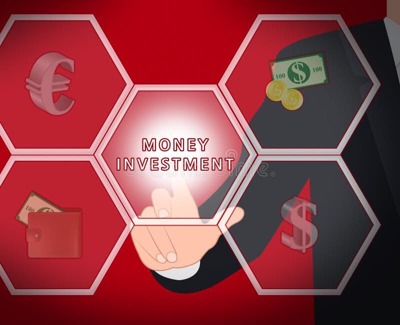 Illustrazione d'investimento commerciale 3d delle esposizioni di investimento dei soldi illustrazione di stock