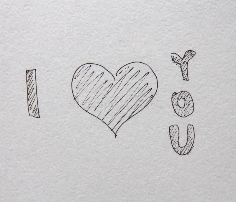 Illustrazione d'iscrizione scritta a mano di amore di forma del cuore Progettazione disegnata a mano per il fondo della carta di  immagini stock libere da diritti