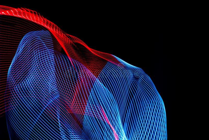 illustrazione 3D Linee variopinte astratte su fondo neutrale di colore nero Modelli attraversati che formano immagine tridimensio illustrazione di stock