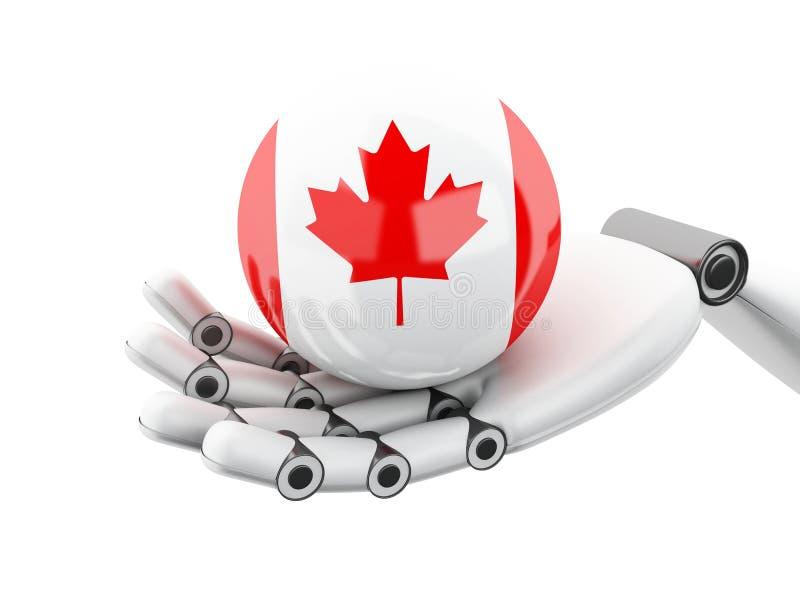 illustrazione 3D Mano robot che tiene l'icona della bandiera del Canada illustrazione di stock