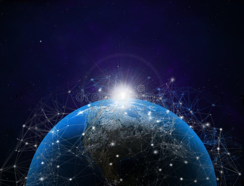 illustrazione 3D Mappa di mondo con le connessioni dati satelliti Connettivit? attraverso il mondo illustrazione vettoriale