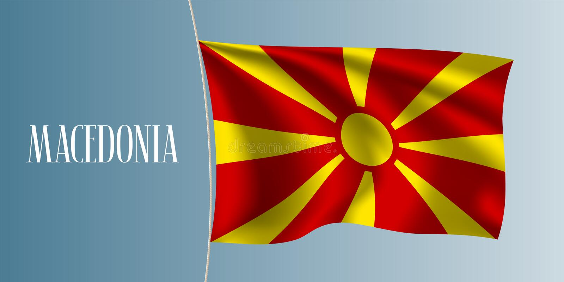 Illustrazione d'ondeggiamento di vettore della bandiera della Macedonia illustrazione di stock