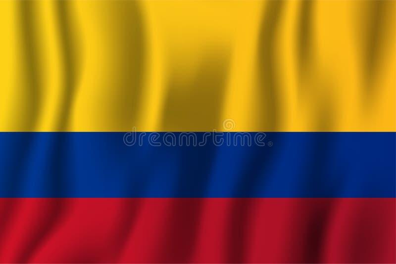 Illustrazione d'ondeggiamento realistica di vettore della bandiera della Colombia Cou nazionale illustrazione vettoriale