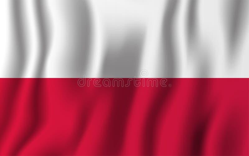 Illustrazione d'ondeggiamento realistica di vettore della bandiera della Polonia Simbolo nazionale del fondo del paese Priorità b illustrazione vettoriale