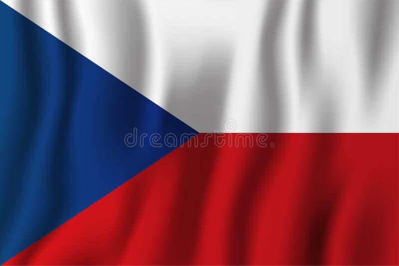 Illustrazione d'ondeggiamento realistica di vettore della bandiera della repubblica Ceca naturalizzisi illustrazione di stock