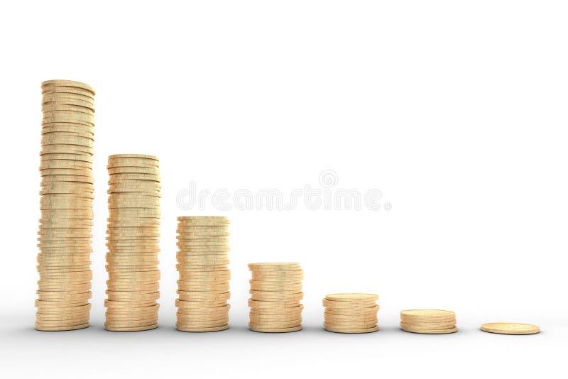 illustrazione 3d: rappresentazione di alta qualità: L'rame-oro del metallo conia il fondo bianco del mercato azionario del grafic royalty illustrazione gratis
