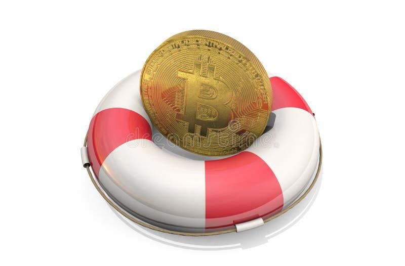 illustrazione 3d: segno del bitcoin dell'oro su un salvagente, isolato su fondo bianco Salvataggio di Cryptocurrency, economico e royalty illustrazione gratis