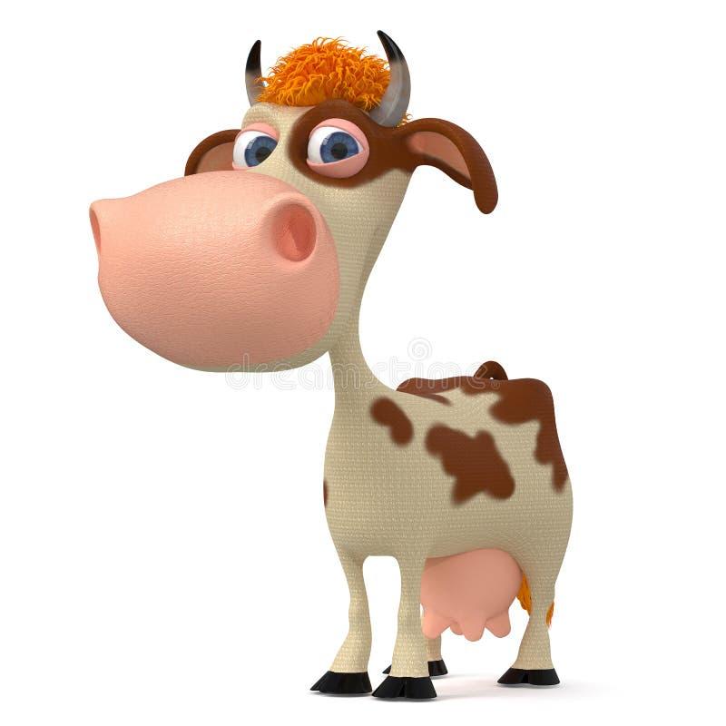 illustrazione 3d una mucca con i corni royalty illustrazione gratis