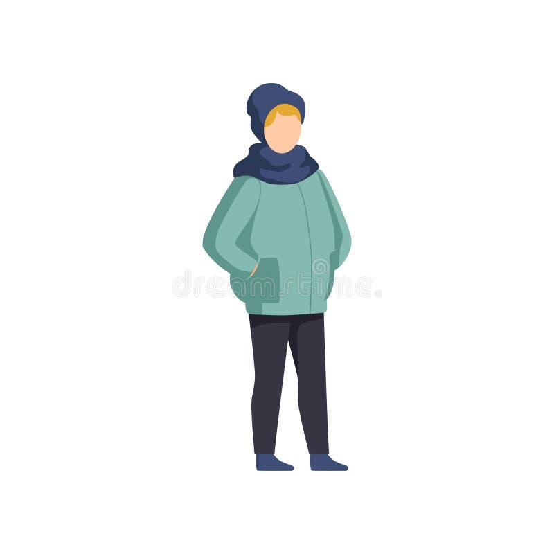 Illustrazione d'uso di vettore dei vestiti di inverno del ragazzo su un fondo bianco illustrazione vettoriale