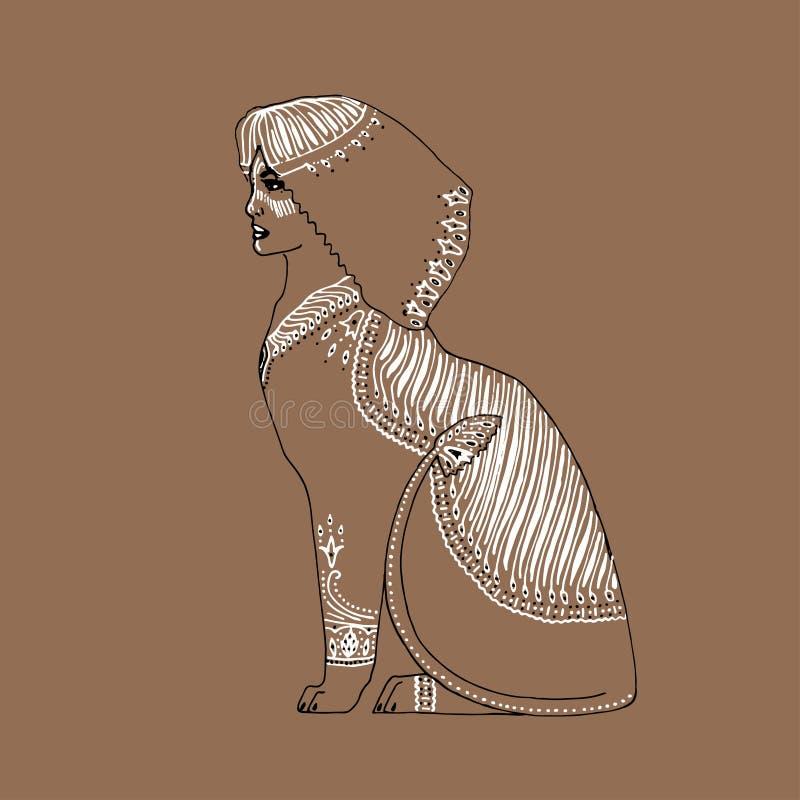 Illustrazione decorativa del profilo di vettore della sfinge Creatura mitica di scarabocchio disegnato a mano illustrazione vettoriale