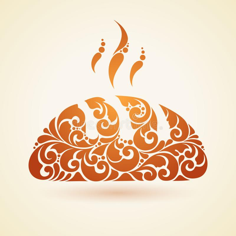 Illustrazione decorativa dell'elemento di progettazione del forno del pane dell'estratto di logo dell'emblema di simbolo caldo fr illustrazione di stock