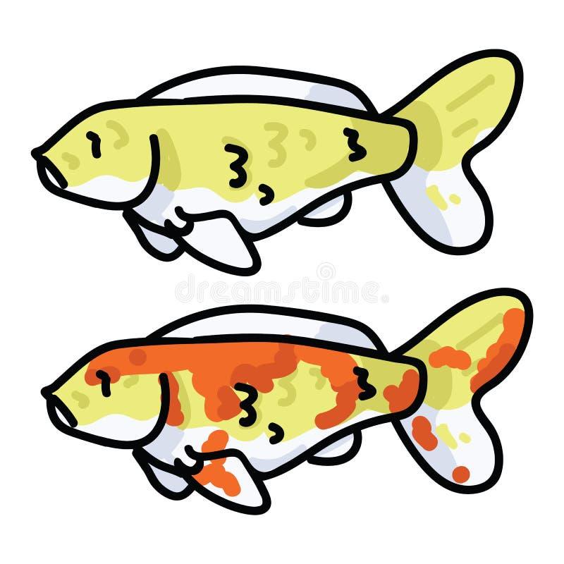 Illustrazione decorativa sveglia di vettore del pesce di koi Clipart marino orientale di vita dello stagno royalty illustrazione gratis