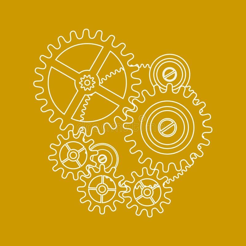 Illustrazione degli attrezzi su colore giallo illustrazione vettoriale