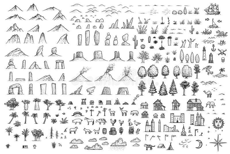 Illustrazione degli elementi della mappa di fantasia, disegno, incisione, inchiostro, linea arte, vettore illustrazione di stock