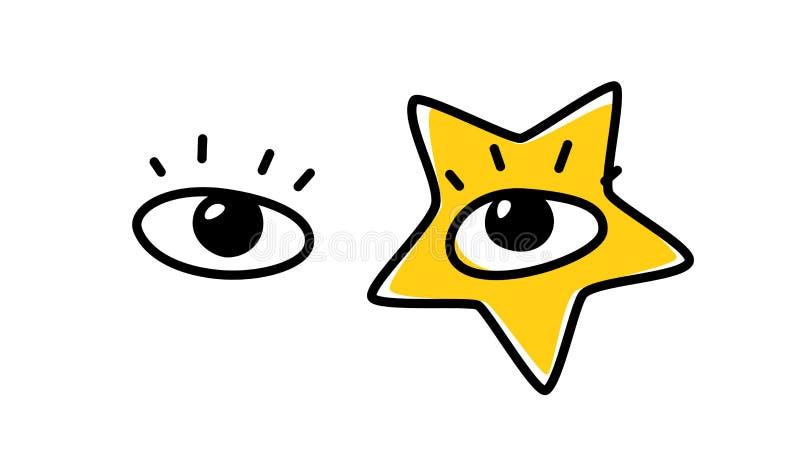 Illustrazione degli occhi umani Vettore Lo sguardo è diretto verso lo spettatore Un'immagine di un pop star Il giallo è protagoni royalty illustrazione gratis