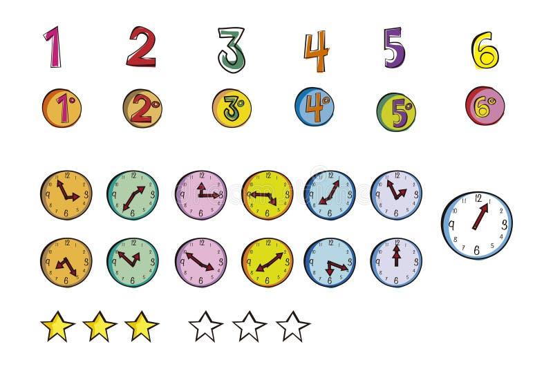 Illustrazione degli orologi e di numeri immagine stock