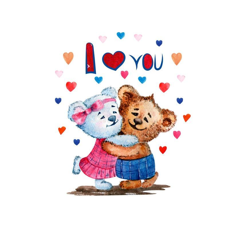Illustrazione degli orsi svegli watercolor Amore Cuore Illustrazione per il giorno del ` s del biglietto di S. Valentino royalty illustrazione gratis