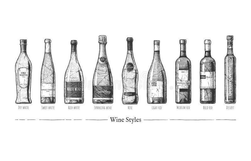 Illustrazione degli stili del vino royalty illustrazione gratis