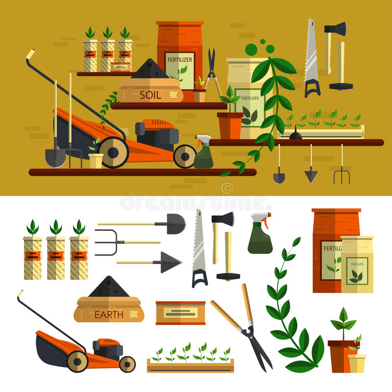 Illustrazione degli strumenti di giardinaggio piano stabilito dell'icona di vettore illustrazione vettoriale