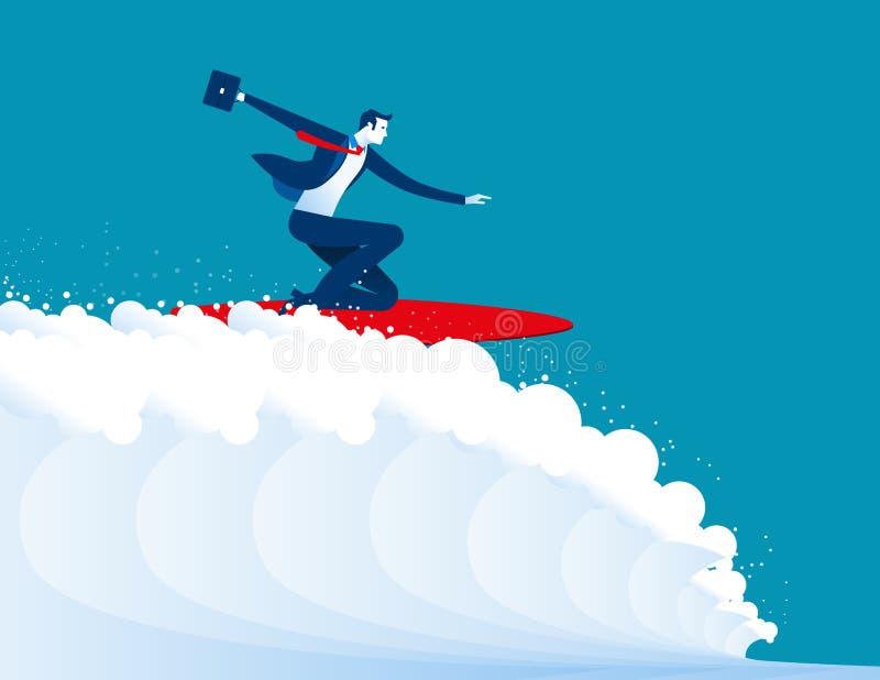 Illustrazione degli uomini d'affari che praticano il surfing illustrazione vettoriale