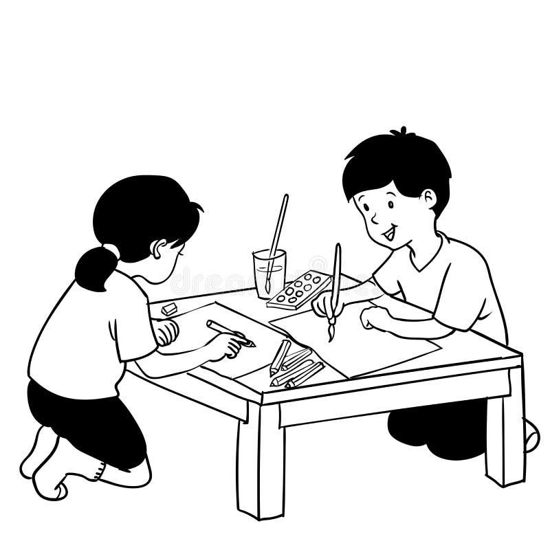 Illustrazione dei bambini che dipingono, sulla classe di arte - Vector disegnato a mano royalty illustrazione gratis