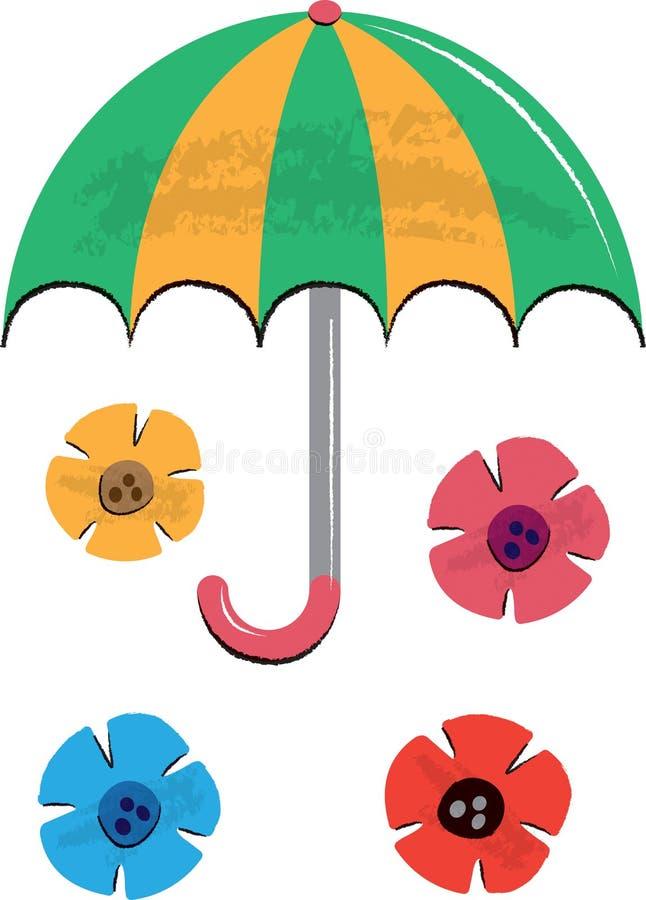 Illustrazione dei bambini di fiori e dell'ombrello illustrazione di stock