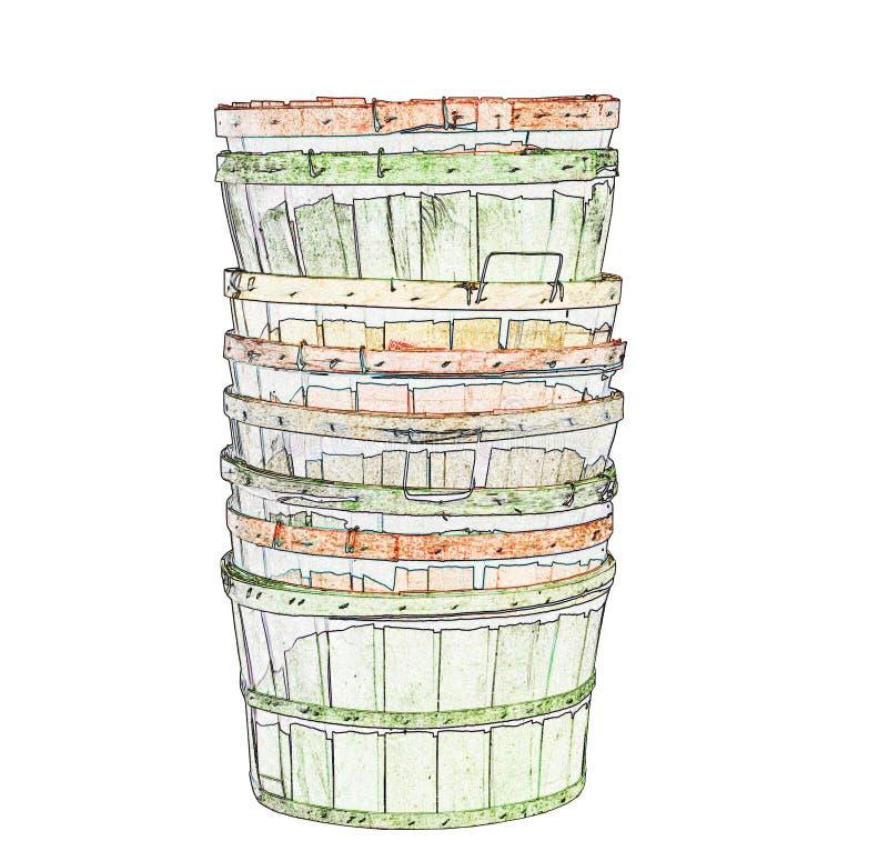 Illustrazione dei canestri di legno illustrazione vettoriale